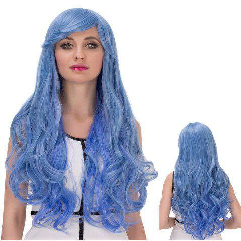 New Long Side Bang Wavy Cosplay Synthetic Wig BLUE