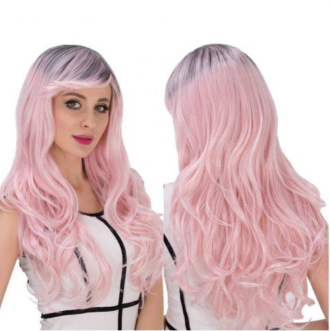 Trendy Long Side Bang Wavy Water Pink Gradient Cosplay Synthetic Wig