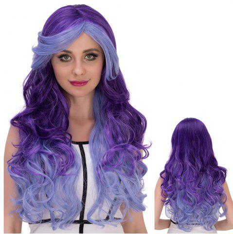Online Multicolor Cosplay Long Side Bang Wavy Synthetic Wig COLORMIX