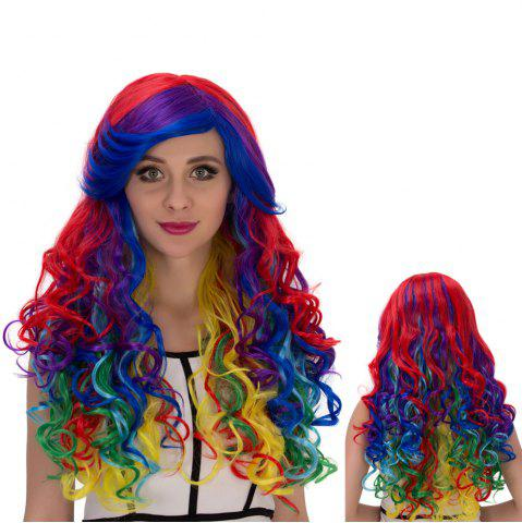 Affordable Long Side Bang Wavy Rainbow Cosplay Synthetic Wig COLORMIX