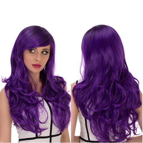 Store Long Side Bang Wavy Purple Gradient Cosplay Synthetic Wig