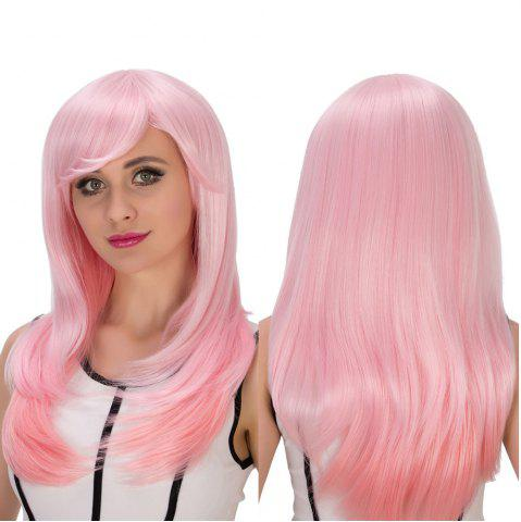 Outfit Long Side Bang Layered Tail Adduction Pink Gradient Cosplay Synthetic Wig
