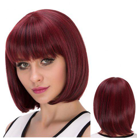 Buy Short Neat Bang Straight Bob Heat Resistant Fiber Wig