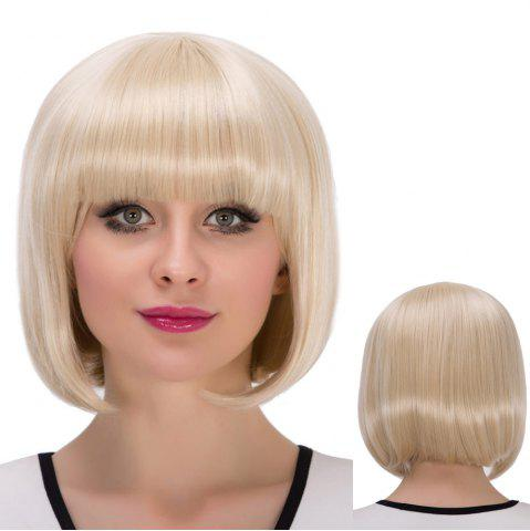 Sale Short Neat Bang Bob Straight Synthetic Wig