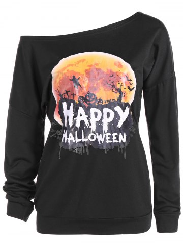 Latest Halloween Skew Neck Sweatshirt BLACK XL