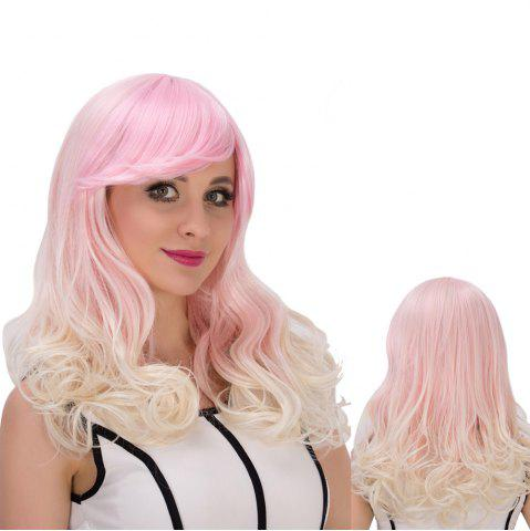 Store Fascinating Colored Long Side Bang Wavy Cosplay Synthetic Wig COLORMIX