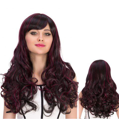 Fashion Long Oblique Bang Curly Highlight Synthetic Wig