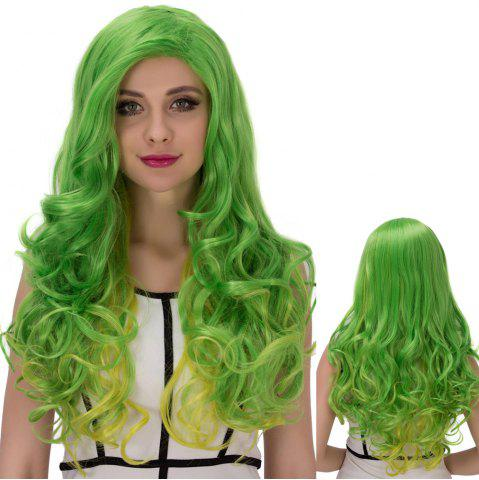 Affordable Gold Green Long Side Parting Wavy Cosplay Synthetic Wig