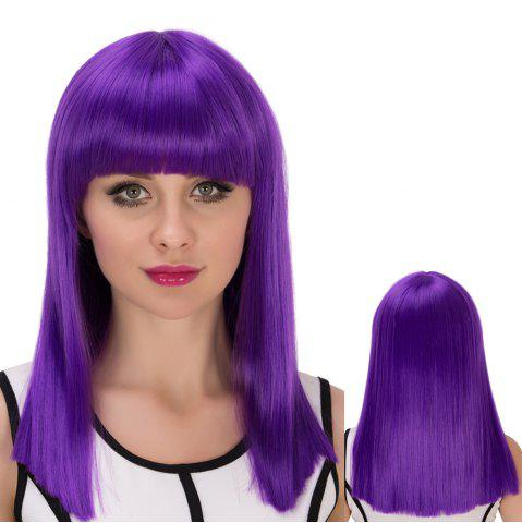 Unique Long Full Bang Straight Cosplay Synthetic Wig - AMETHYST  Mobile