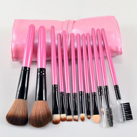 12 Pcs Fiber Makeup Brushes Set with Brush Bag - PINK