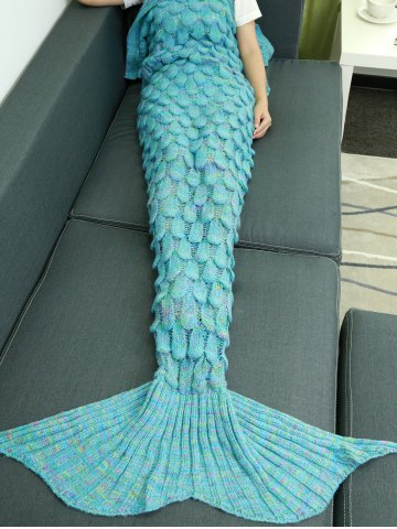 Fashion Warmth Hollow Out Design Knitted Mermaid Tail Blanket LAKE BLUE
