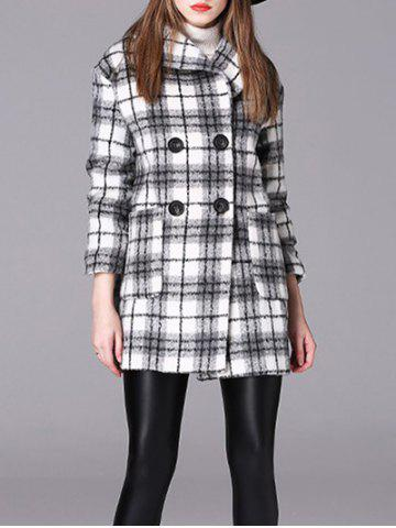 New Checked Double-Breasted Woolen Coat