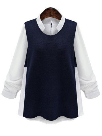 Buy Plus Size Splicing Color Block Blouse BLUE AND WHITE 5XL