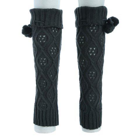 Latest Flanging Small Ball Infinity Knitted Leg Warmers DEEP GRAY