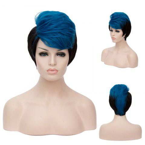 Unique Short Fluffy Side Bang Straight Blue Highlights Synthetic Wig