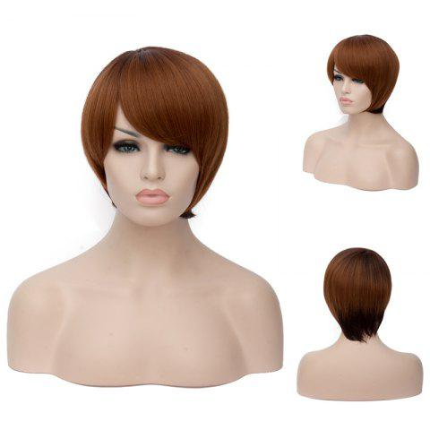 Unique Short Mixed Color Side Bang Straight Synthetic Wig