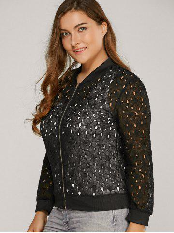Chic Hollow Out Lace Bomber Jacket