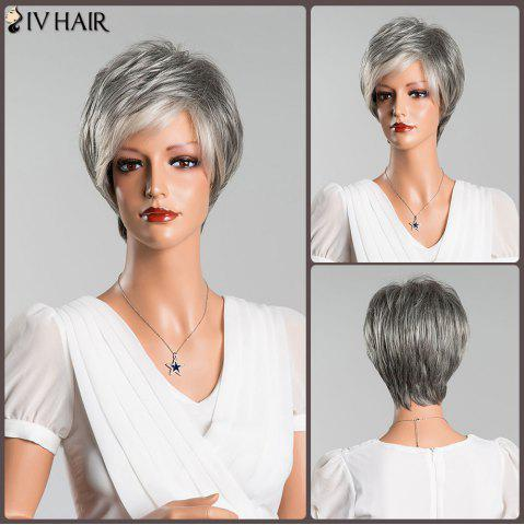 Fancy Multicolor Short Fluffy Straight Side Bang Siv Human Hair Wig COLORMIX