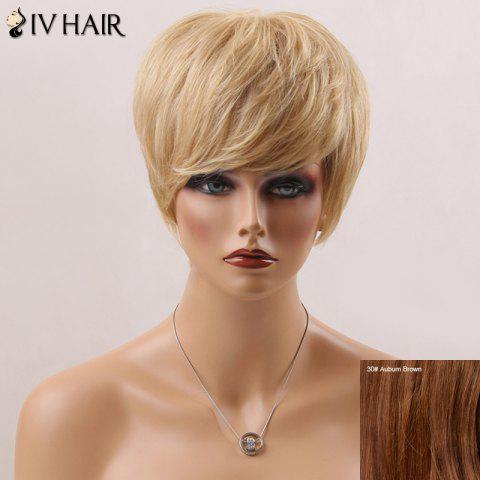 Unique Handsome Short Fluffy Straight Side Bang Siv Human Hair Wig AUBURN BROWN