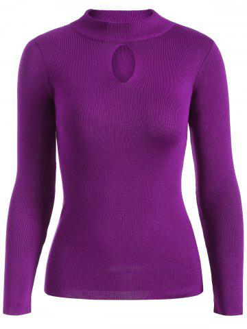 Discount Keyhole Ribbed Sweater