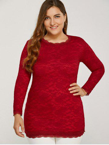 Sale Long Sleeve Thicken Lace Blouse RED 2XL