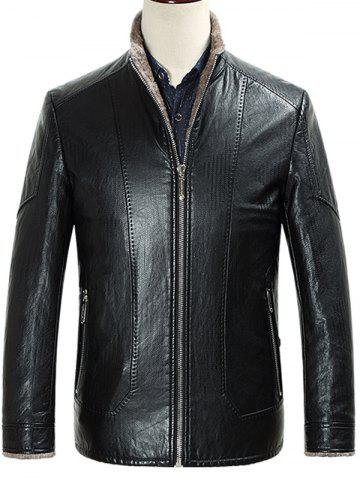 Best Zippered Stand Collar Flocking Faux Leather Jacket