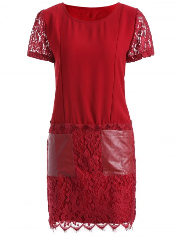 Latest Pocket Lace Splicing Faux Leather Panel Dress