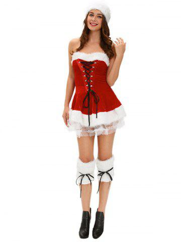 Christmas Lace Cosplay Strapless Dress - RED ONE SIZE