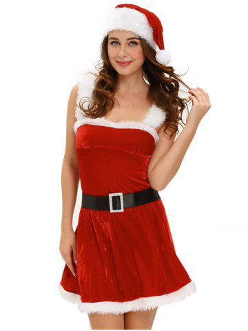 Noël Belted Cut Out Robe en velours Rouge TAILLE MOYENNE