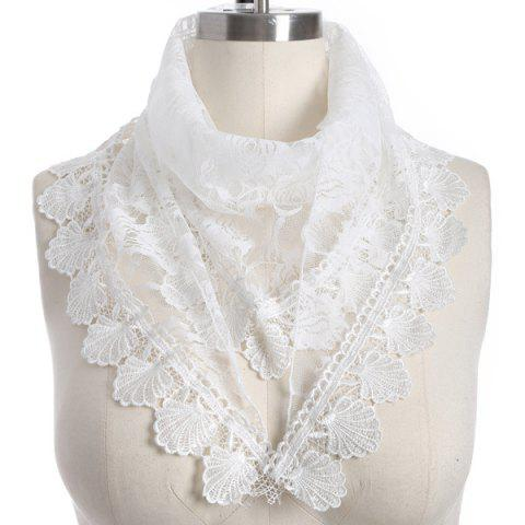 Cheap Travel Leaf Tassel Pendant Trim Lace Triangle Scarf WHITE
