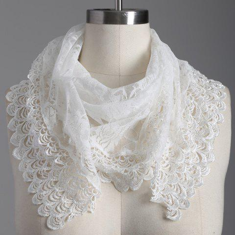 Outfit Travel Openwork Wave Cut Edge Trim Lace Triangle Scarf WHITE