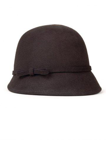 Small Bowknot Lace-Up Embellished Cloche Hat - COFFEE