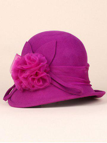 Hot Lace Flower Band Embellished 20s Cloche Hat ROSE RED