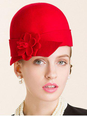 Latest Flower Embellished 20s Wool Fedora Hat RED
