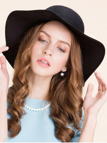 Chic Casual Leaf Pendant Rope Floppy Hat BLACK