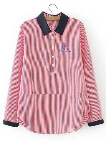 Buy Plus Size Striped Embroidered Shirt