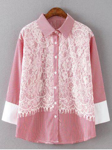 Shops Striped Plus Size Lace Shirt
