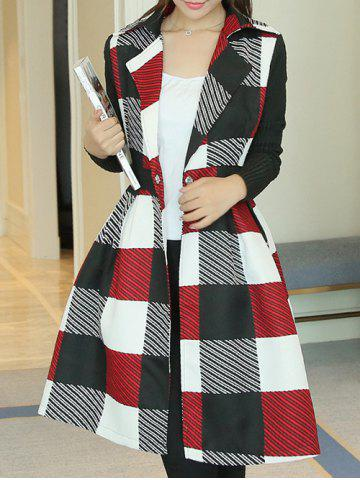 Discount Lapel Collar Checked Wrap Coat