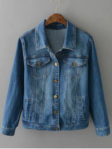 Buy Plus Size Buttoned Fitted Denim Jacket