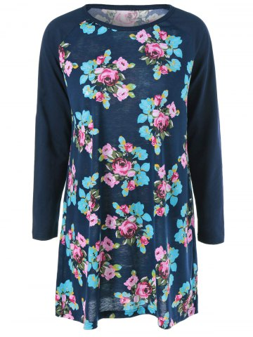 Chic Raglan Sleeve Floral Mini Dress