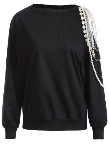 Fashion Cold Shoulder Embellished Pullover Sweatshirt