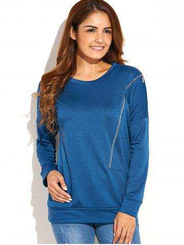 Zip Side Up Sweatshirt Bleu canard S