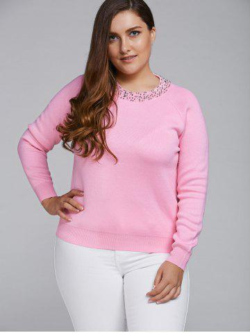 Online Raglan Sleeve Beading Sweater LIGHT PINK 4XL