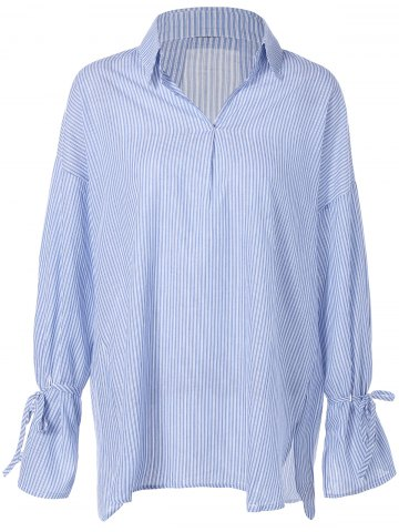Affordable Flare Sleeve Striped Loose Blouse