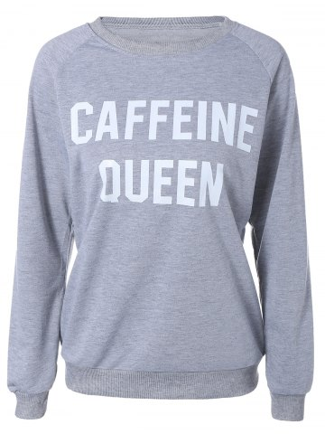 Shops Raglan Sleeve Letter Loose Sweatshirt GRAY L