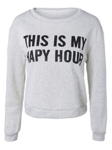 Chic Cropped Letter Loose Sweatshirt LIGHT GRAY M