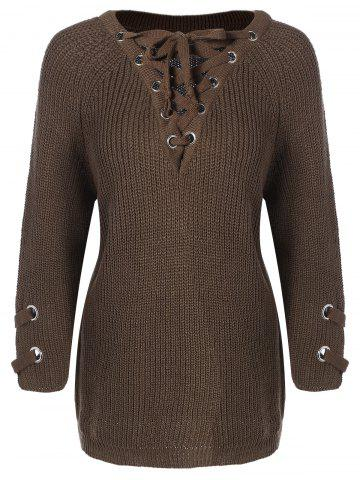 Lace-Up Loose Sweater - OLIVE GREEN ONE SIZE