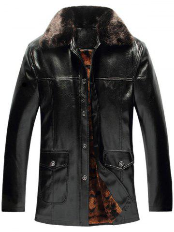 Fancy Faux Fur Collar Pockets Embellished Single-Breasted PU-Leather Fleece Coat