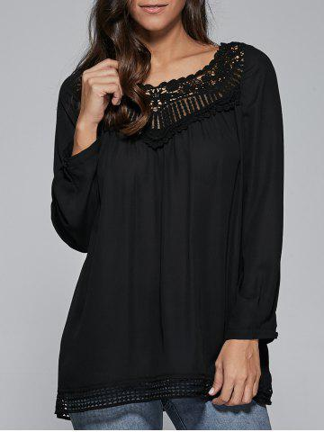 Store Lace Patchwork Openwork Hem Smock Blouse