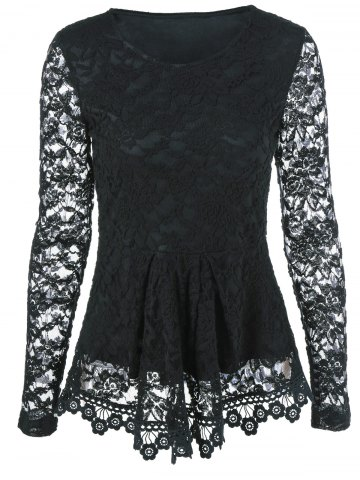 Affordable Sheer Sleeve Lace Peplum Blouse BLACK M